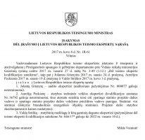 Įsakymas dėl įrašymo į LR teismo ekspertų sąrašą
